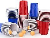 MOZOOSON Bierpong Becher Set, 50 Red Cups + 50 Blue Cups+10 Tischtennisbälle für Bierpong Tische Trinkspiele Kartenspiele Wiederverwendbare Beer Pong Party Festival Zubehör Gadgets Spülmaschinenfest