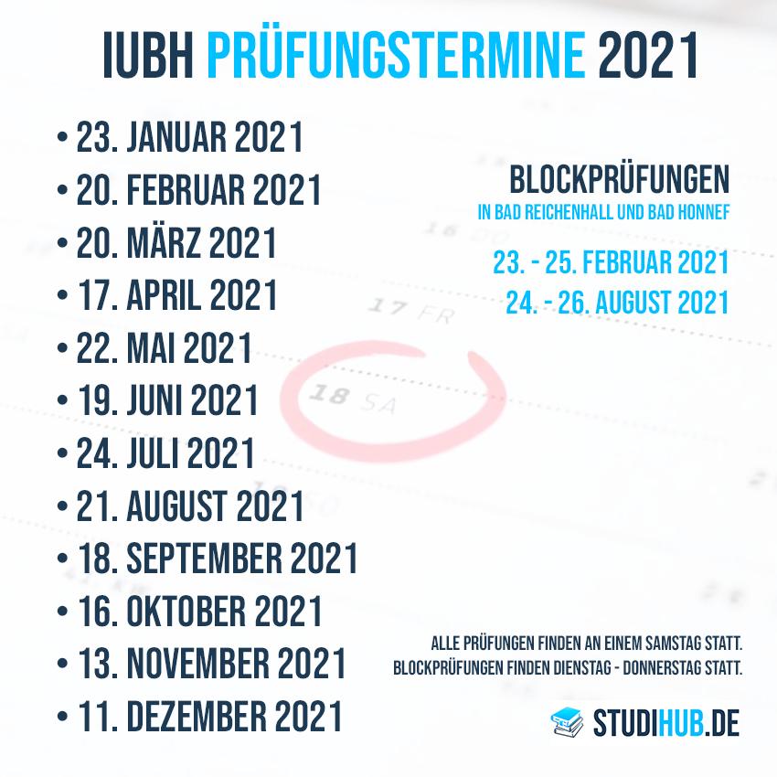 IUBH Prüfungstermine und Klausuren 2021 - Infografik