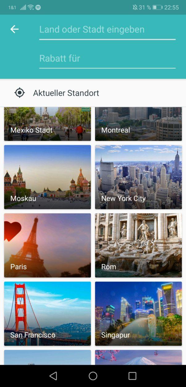 ISIC App - Startbildschirm