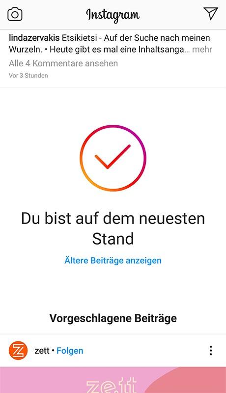 Instagram Screenshot Vorgeschlagene Beiträge