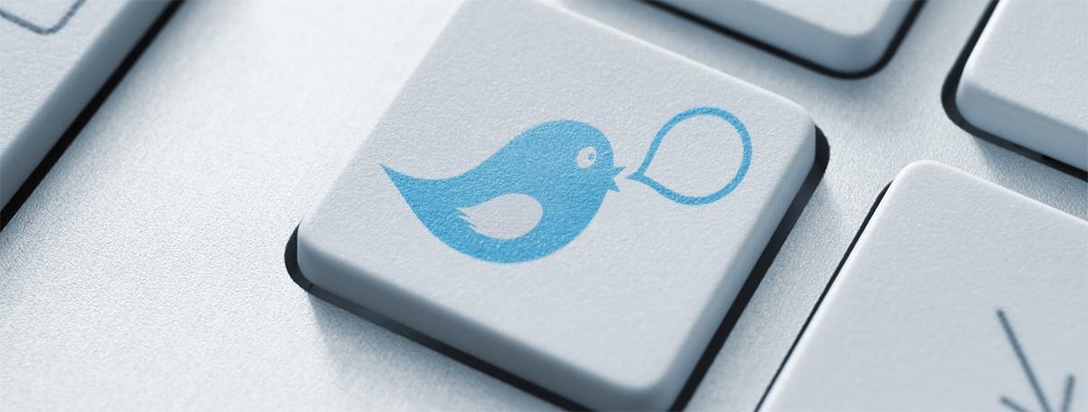 Twitter Tweet Logo auf Tastatur