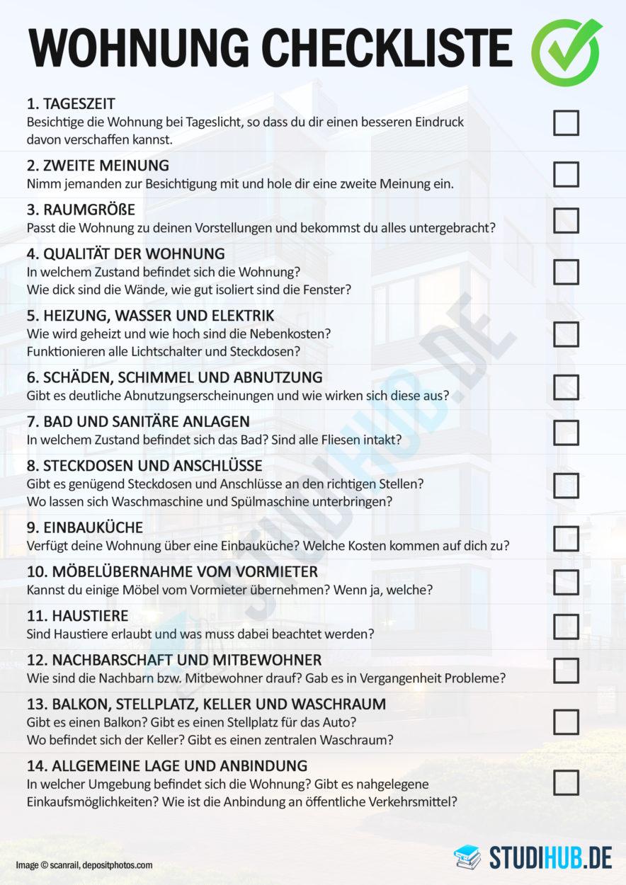 Wohnung Checkliste - Die wichtigsten Punkte