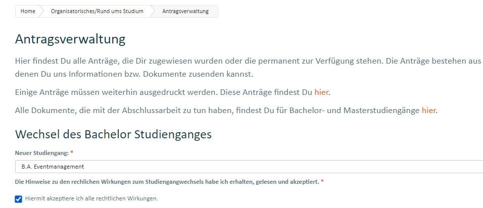 Antragsverwaltung Studiengangwechsel - IUBH Fernstudium