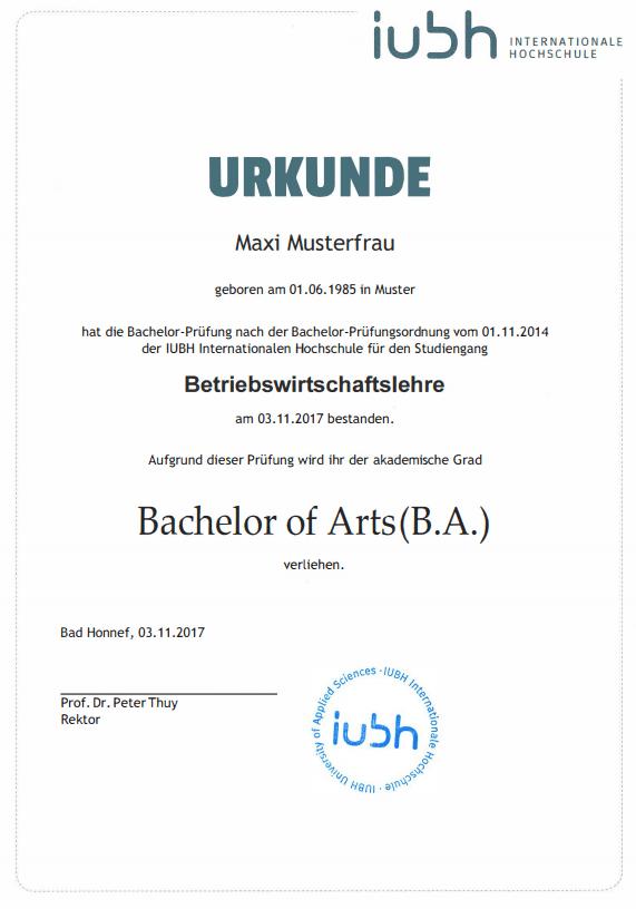 Mustervorlage IU Fernstudium Bachelorurkunde